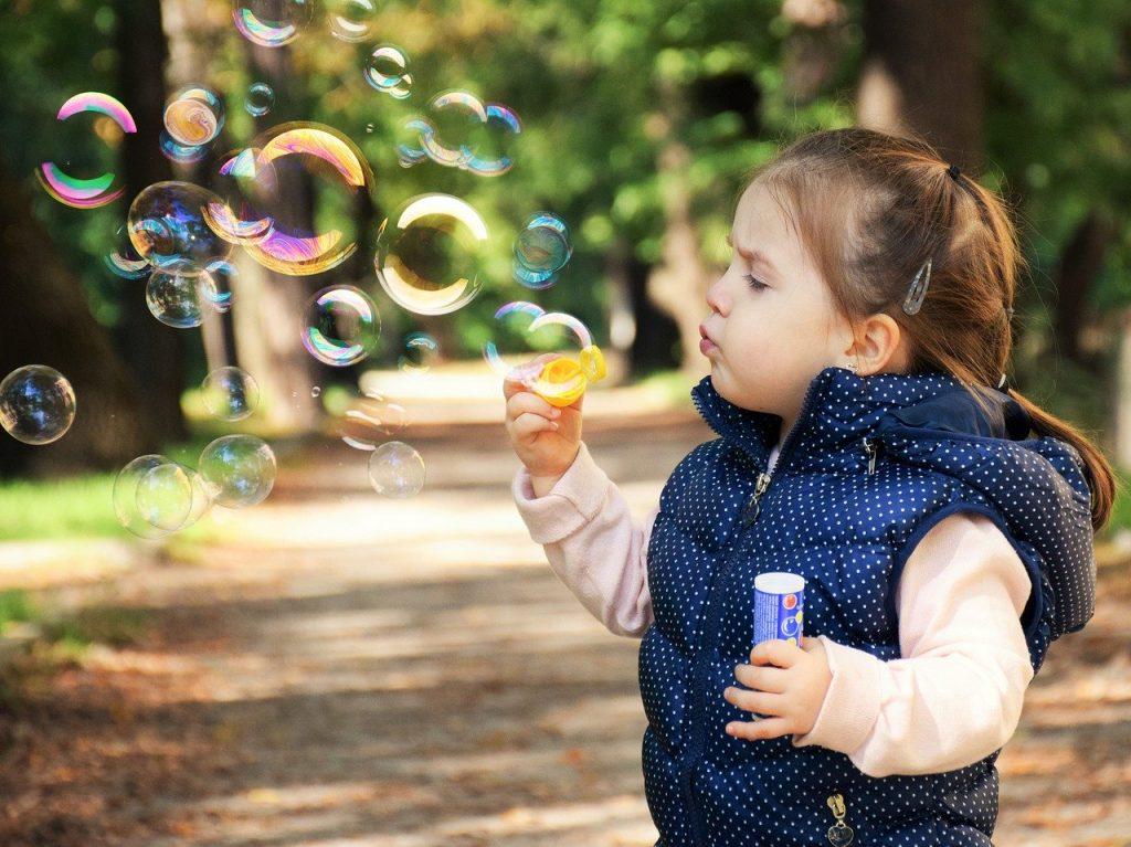 kid, soap bubbles, child